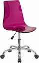 Contemporary Transparent Purple Acrylic Swivel Task Chair with Chrome Base [CH-98018-PUR-GG]