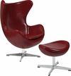Cordovan Leather Egg Chair with Tilt-Lock Mechanism and Ottoman [ZB-15-CH-OT-GG]