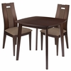 Coventry 3 Piece Espresso Wood Dining Table Set with Curved Slat Wood Dining Chairs - Padded Seats [ES-59-GG]