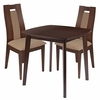 Coventry 3 Piece Walnut Wood Dining Table Set with Curved Slat Wood Dining Chairs - Padded Seats [ES-73-GG]