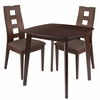 Cranston 3 Piece Espresso Wood Dining Table Set with Window Pane Back Wood Dining Chairs - Padded Seats [ES-58-GG]