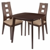 Cranston 3 Piece Walnut Wood Dining Table Set with Window Pane Back Wood Dining Chairs - Padded Seats [ES-72-GG]