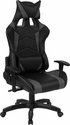 Cumberland Comfort Series High Back Black and Gray Executive Reclining Racing Swivel Chair with Adjustable Lumbar Support [CH-CX1064H-GG]