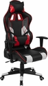 Cumberland Comfort Series High Back Black, White, Gray and Red Executive Reclining Racing Swivel Chair with Adjustable Lumbar Support [CH-CX1050H-GG]