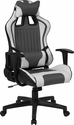 Cumberland Comfort Series High Back Gray and White Executive Reclining Racing Swivel Chair with Adjustable Lumbar Support [CH-CX1063H-GG]
