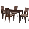 Dalston 5 Piece Espresso Wood Dining Table Set with Curved Slat Keyhole Back Wood Dining Chairs - Padded Seats [ES-32-GG]