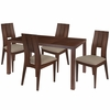 Dalston 5 Piece Walnut Wood Dining Table Set with Curved Slat Keyhole Back Wood Dining Chairs - Padded Seats [ES-46-GG]