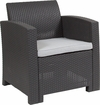 Dark Gray Faux Rattan Chair with All-Weather Light Gray Cushion [DAD-SF2-1-DKGY-GG]