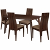 Dearborn 5 Piece Espresso Wood Dining Table Set with Wide Slat Back Wood Dining Chairs - Padded Seats [ES-1-GG]