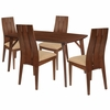 Dearborn 5 Piece Walnut Wood Dining Table Set with Wide Slat Back Wood Dining Chairs - Padded Seats [ES-15-GG]