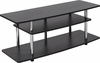 Deerfield Black TV Stand with Shelves and Stainless Steel Legs [NAN-NJ-TS075-GG]