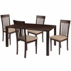 Eastchester 5 Piece Espresso Wood Dining Table Set with Rail Back Wood Dining Chairs - Padded Seats [ES-41-GG]