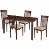 Eastchester 5 Piece Walnut Wood Dining Table Set with Rail Back Wood Dining Chairs - Padded Seats [ES-55-GG]
