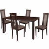 Eastcoate 5 Piece Espresso Wood Dining Table Set with Framed Rail Back Design Wood Dining Chairs - Padded Seats [ES-37-GG]