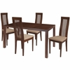 Eastcoate 5 Piece Walnut Wood Dining Table Set with Framed Rail Back Design Wood Dining Chairs - Padded Seats [ES-51-GG]
