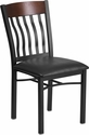 Eclipse Series Vertical Back Black Metal and Walnut Wood Restaurant Chair with Black Vinyl Seat [XU-DG-60618-WAL-BLKV-GG]
