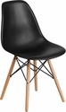 Elon Series Black Plastic Chair with Wood Base [FH-130-DPP-BK-GG]