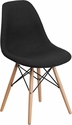 Elon Series Genoa Black Fabric Chair with Wood Base [FH-130-DCV1-FC01-GG]