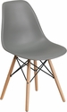 Elon Series Moss Gray Plastic Chair with Wood Base [FH-130-DPP-GY-GG]