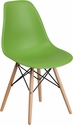 Elon Series Green Plastic Chair with Wood Base [FH-130-DPP-GN-GG]