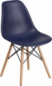 Elon Series Navy Plastic Chair with Wood Base [FH-130-DPP-NY-GG]