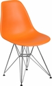 Elon Series Orange Plastic Chair with Chrome Base [FH-130-CPP1-OR-GG]