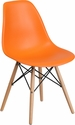 Elon Series Orange Plastic Chair with Wood Base [FH-130-DPP-OR-GG]