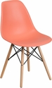 Elon Series Peach Plastic Chair with Wood Base [FH-130-DPP-PE-GG]