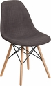 Elon Series Siena Gray Fabric Chair with Wood Base [FH-130-DCV1-FC100-GG]