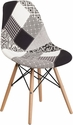 Elon Series Turin Patchwork Fabric Chair with Wood Base [FH-130-DCV1-PK4-GG]