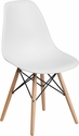 Elon Series White Plastic Chair with Wood Base [FH-130-DPP-WH-GG]