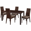 Elston 5 Piece Espresso Wood Dining Table Set with Wide Slat Back Wood Dining Chairs - Padded Seats [ES-29-GG]