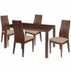 Elston 5 Piece Walnut Wood Dining Table Set with Wide Slat Back Wood Dining Chairs - Padded Seats [ES-43-GG]