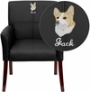 Embroidered Black Leather Executive Side Reception Chair with Mahogany Legs [BT-353-BK-LEA-EMB-GG]