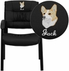 Embroidered Black Leather Executive Side Reception Chair with Black Frame Finish [BT-1404-EMB-GG]