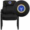 Embroidered Black Microfiber Executive Side Reception Chair with Sled Base [GO-1156-BK-EMB-GG]