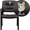 Embroidered Brown Leather Executive Side Reception Chair with Black Frame Finish [BT-1404-BN-EMB-GG]
