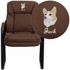 Embroidered Brown Microfiber Executive Side Reception Chair with Sled Base [GO-1156-BN-EMB-GG]