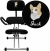 Embroidered Ergonomic Kneeling Chair with Back and Handles in Black Fabric [WL-3439-EMB-GG]