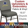 Embroidered HERCULES Series 18.5''W Church Chair in Customizable with Book Rack - Gold Vein Frame [NG-CH-185-GV-UNP-BAS-CUSTOM-EMB-GG]