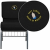 Embroidered HERCULES Series 21''W Church Chair in Black Fabric with Book Rack - Silver Vein Frame [XU-CH0221-BK-SV-BAS-EMB-GG]