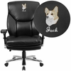 Embroidered HERCULES Series 24/7 Intensive Use Big & Tall 400 lb. Rated Black Leather Executive Swivel Chair with Lumbar Knob [GO-2085-LEA-EMB-GG]