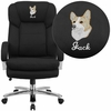 Embroidered HERCULES Series 24/7 Intensive Use Big & Tall 500 lb. Rated Black Fabric Executive Swivel Chair with Loop Arms [GO-2078-EMB-GG]