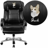 Embroidered HERCULES Series 24/7 Intensive Use Big & Tall 500 lb. Rated Black Leather Executive Swivel Chair with Loop Arms [GO-2078-LEA-EMB-GG]