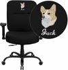 Embroidered HERCULES Series Big & Tall 400 lb. Rated Black Fabric Executive Swivel Chair with Adjustable Arms [WL-735SYG-BK-A-EMB-GG]