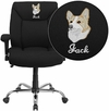 Embroidered HERCULES Series Big & Tall 400 lb. Rated Black Fabric Swivel Task Chair with Adjustable Arms [GO-2073F-EMB-GG]
