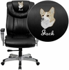 Embroidered HERCULES Series Big & Tall 400 lb. Rated Black Leather Executive Swivel Chair with Adjustable Arms [GO-1534-BK-LEA-EMB-GG]