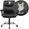Embroidered HERCULES Series Big & Tall 400 lb. Rated Black Leather Swivel Task Chair with Adjustable Arms [GO-2031-LEA-EMB-GG]