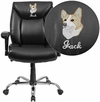 Embroidered HERCULES Series Big & Tall 400 lb. Rated Black Leather Swivel Task Chair with Adjustable Arms [GO-2073-LEA-EMB-GG]