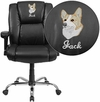 Embroidered HERCULES Series Big & Tall 400 lb. Rated Black Leather Swivel Task Chair with Adjustable Arms [GO-2132-LEA-EMB-GG]